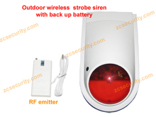 Universal Wireless siren with strobe light and back up battery 120db free shipping