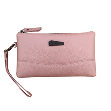 Fashion Women's Genuine Leather Wallet Ladies Natural Leather Make up Purse For 6 inch Phone Female Casual Cowhide Clutch(China)
