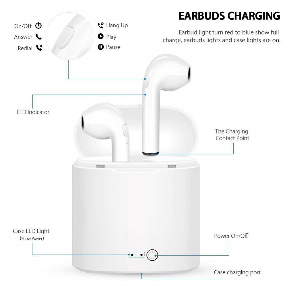 i7s TWS 5.0 Wireless Bluetooth Headphone for Panasonic Toughpad FZ-Y1 Tablet Earphone Music Earbud Charging Box 3
