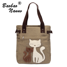 Cute Cat Women Handbag Casual Canvas Tote Bag Large Capacity Lady Handbags Women Shoulder Bag Canvas Bag Sac a main Bolsos Mujer