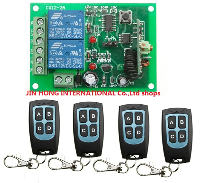 Free Shipping 2017 New DC 12V 2CH RF Wireless Remote Control Switch System Transmitter &amp;4 + Receiver &amp;1 for 315 /433 MHZ<br><br>Aliexpress