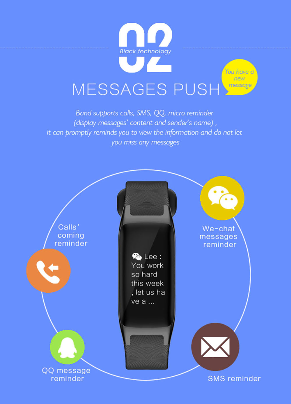 Imosi B20 Pedometer Smart Bracelet Heart Rate Monitor Blood Pressure Fitness 0.96 inch IPS Color Touch Screen PK  Mi band 2