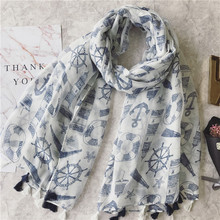 100*180cm Navy Compass Women Voile Scarf Scarves Luxury Brand Shawl Wrap Bandana Muslim Hijab Beach Sunscreen Gift Accessory