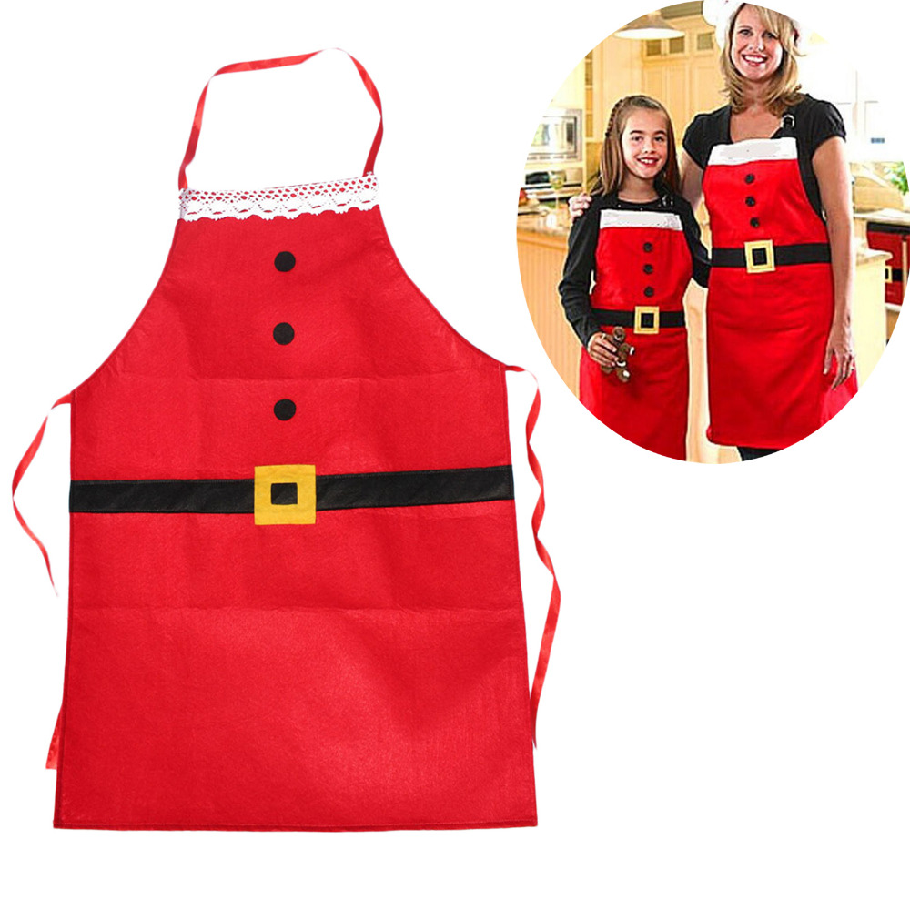 New Christmas Kitchen Bar Home Decorations Santa Claus Unisex Aprons Red Non-woven Xmas New Year Family Household Party Supplier(China (Mainland))