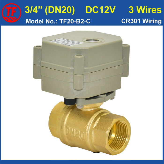 3/4 DC12V 3 wires 2 way brass full port Motorized ball Valve with indicator<br>