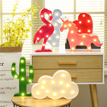 Cute LED Flamingo Unicorn Night Lights Party Pineapple Cactus Wall Lamp Romantic Luminaria Animal LED Marquee Home Decor Lights