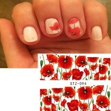 1sheets NEW Red Glitter Nail Tools Nail Art Sexy Stickers Decals Beauty Red Flower Full Tips Decorations Watermark DIY TRSTZ094(China)