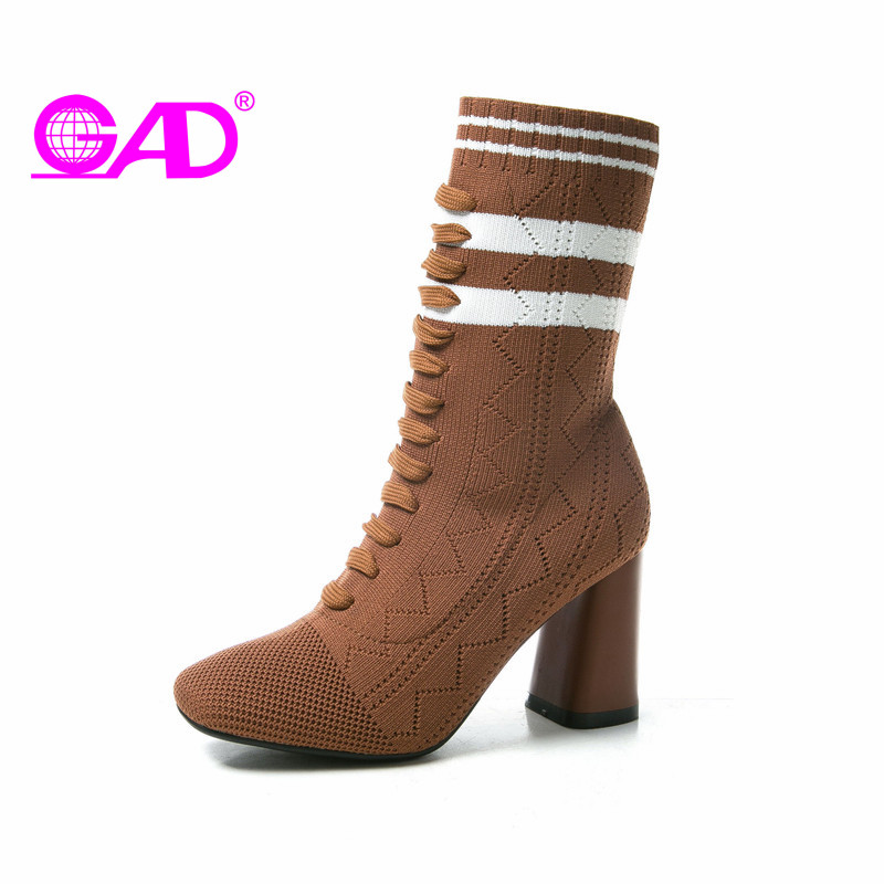GAD Stretch Fabric Women Boots 2017 Autumn/Winter Square Toe Women Mid-calf Boots Classic Black White Striped Women Shoes Boots<br>