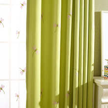 Small dragonfly Korean Japanese garden fresh cotton embroidery curtain window screen blinds