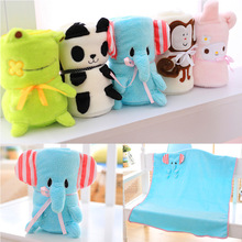 2016 Cute Cartoon Animal Doll Plush Toy Newborn Baby Coral Fleece Portable Reelable Bedding Automotive Blanket  Toy