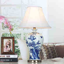 Jingdezhen Vintage style porcelain ceramic desk table lamps for bedside chinese Blue and White Porcelain vase table lamp