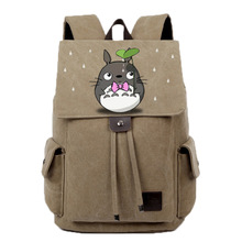 Anime Tonari no Totoro Cosplay Student bag college wind shoulder bag men and women backpack graffiti canvas bag