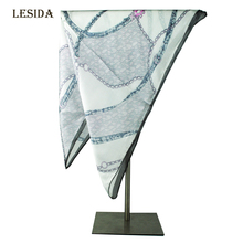 [LESIDA] 2016 New High Quality Small Squar Pure Silk Head Scarves white Neck Warmer Foulard Femme 53*53CM Bandana XF1115