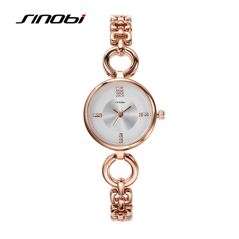 SINOBI 2017 New Fashion Ladies Elegant Bracelet Watch Luxury Full Gold Alloy Quartz Watch Charm Mini Watch relojes mujer 2016<br><br>Aliexpress