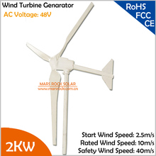 High quality 3.2m rotor diameter 2.5m/s start wind speed 2000W/2KW 48V AC three phase 3 blades wind turbine generator