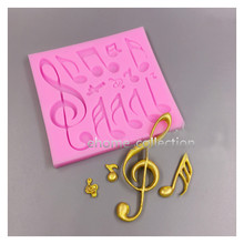 Kitchen Accessories 3D Musical Note Shape Fondant Silicone Mold Lace Cake Border Silicone Mold Sugar Cookie Cake Decor(China)