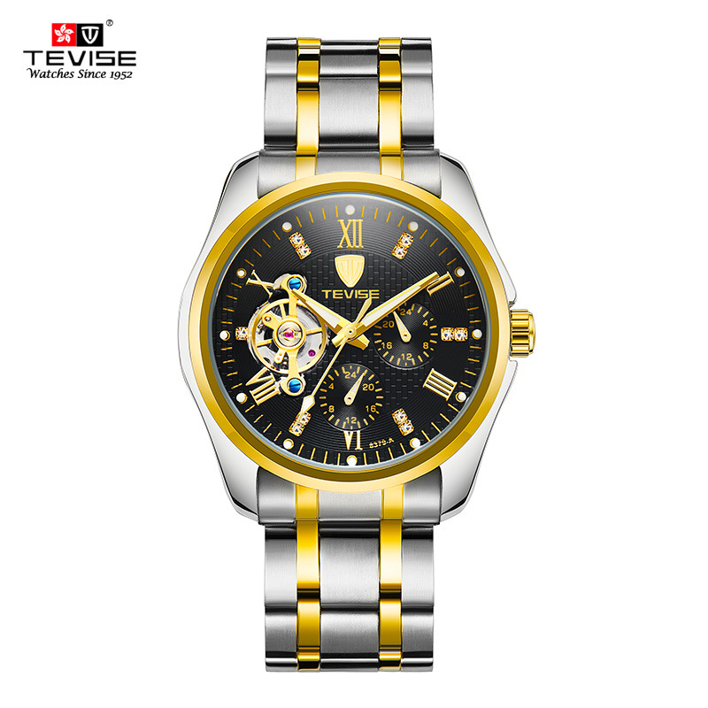 TEVISE Tourbillon Watch Men Automatic Waterproof Top Brand Mens Mechanical Watches Rhinestones Golden clock Relogio Masculino<br>