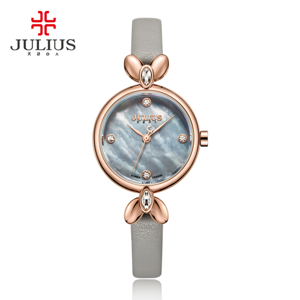 JULIUS Small Womens 24 Hour Watch Saat Elegant Slim Leather Quartz for Ladies Crystal Clock Waterproof Features Diamond Straps<br>
