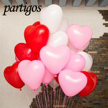 50pcs/lot Romantic 12 Inches 2.2g Red Love Heart Latex Helium Balloons Wedding Decoration Valentines Day Birthday Party Balloons(China)