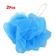 Bestselling Mesh Soft Bath Sponge Body Pouf Shower Loop Scrubber Blue 2 Pcs(China)