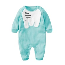 Lovely Spring Autumn Boys Girls Elephants Print Long Sleeve Baby Clothes Children's Rompers Jumpsuit