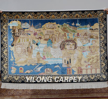 Yilong 3'x4.5' Handmade silk area carpet handiwork egyptian pyramids tapestry rug (0013)(China)