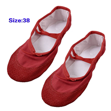 5pcs( Red Split Sole Drawstring Top Ballet Dancing Flats Shoes EU Size 37.5 for Ladies(China)