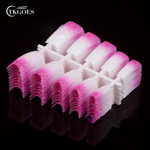 TKGOES Pink White Mix Glitter French Nail Tips Acrylic 100PCS Red False Nails Art Foils L37