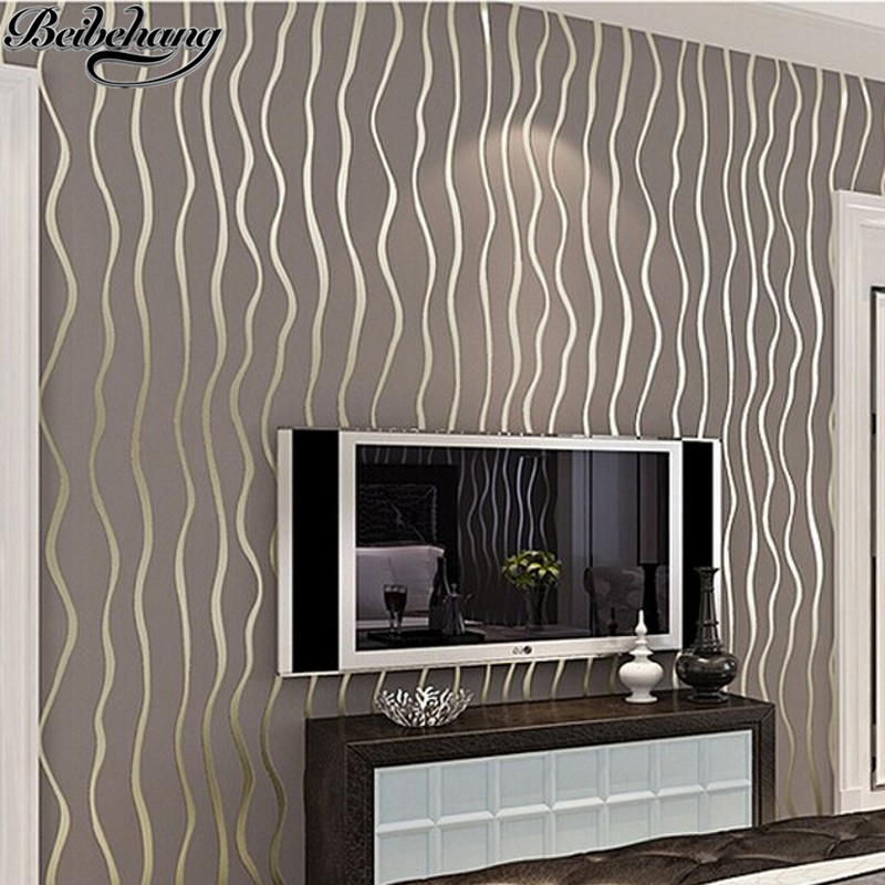 beibehang Modern Simple 3D Stereo Vertical Striped Thick Nonwovens Wallpaper Relief Bedroom Living Room Background Wallpaper<br>