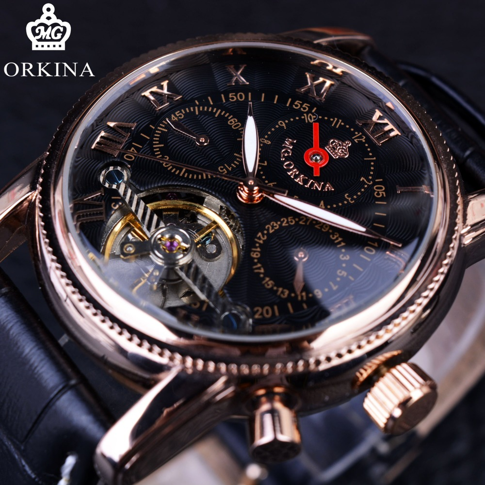 Orkina Tourbillon Gear Bezel Black Golden Designer Rose Golden Luxury Designer Mens Watch Top Brand Luxury Automatic Clock Men<br>