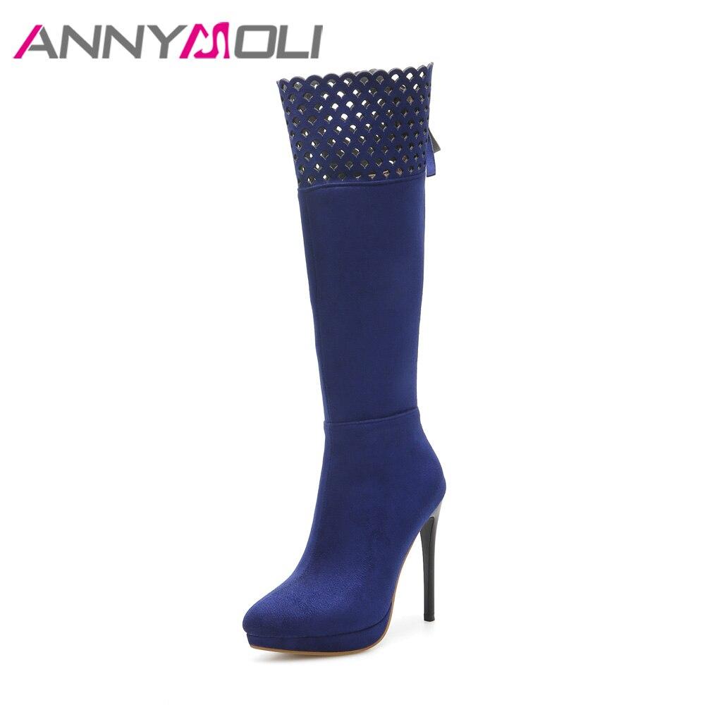 ANNYMOLI Winter Women Boots Platform Extreme High Heel Boots Zip Knee High Boots Cutout Autumn Shoes Plus Size 33-45 Blue Black<br>