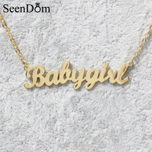 "Lovely Gift Gold Color ""Babygirl"" Name Necklace Stainless Steel Nameplate Choker Handwriting Signature Necklace For Girls(China)"