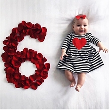 Myudi - 2017 Long Sleeve Stripped Girl Cotton Dress with Red Heart Children Baby Clothing Toddler Autumn Dress Kids Gift 1-5Y