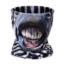 New Fahsion zebra face Pattern 3D Printing Headwear Bandana Multi Scarf Unisex High Quality Polyester Soft Seamless Scarves