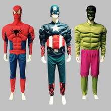 The Avengers Muscle Cosplay Costume Iron Man Hulk Superman Spiderman Batman Captain America Adult Halloween Party Fantasy Dress