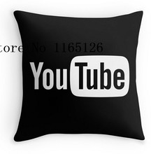 Hot Pillow cases YouTube Full Logo - Full White on Black two sides printing Square Zippered Pillowcase free shipping(China)
