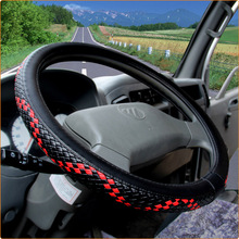 36-50cm Woven Leather Steering Wheel Covers for Car Bus Truck, 36 38 40 42 45 47 50cm Diameter