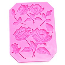 Roses shape silicone rubber moulds for kitchen chocolate confectionery fondant cake decoration used molding tools FT-1017(China)