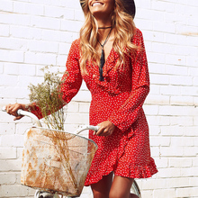 Red Polka Dot Chiffon Mini Dress Women Ruffles Short Boho Dresses Wrap V Neck Vintage Dresses Party Summer Beach Tunic Dress