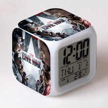 Christmas Gifts For Kids Avengers Captain America LED Alarm Clock 7 Color Flash Night Light Steve Rogers reloj despertador Watch(China)