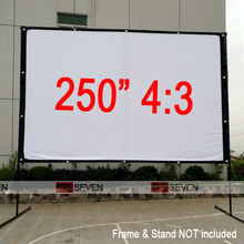 "250"" 4:3 Movably White Canvas Fabric Projection Screen for Any LED LCD DLP 3D Smart Full HD Projectors, Watch Movies Outsides"