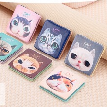 1pc Cute Cat Mini Pocket Makeup Mirror Cosmetic Compact Mirrors Portable Double Dual Sides Alloy WA677 P05