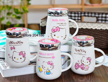 Cartoon Hello Kitty Doraemon Home Office Ceramic Milk Tea Mug Cup With Lid Spoon Best For Lady
