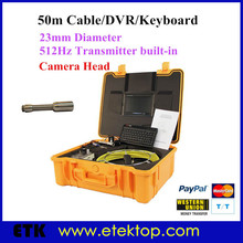 50m Professional Pipeline Snake Camera Sewer Inspection Camera 7inch LCD Monitor 23mm 512hz transmitter DVR Recorder