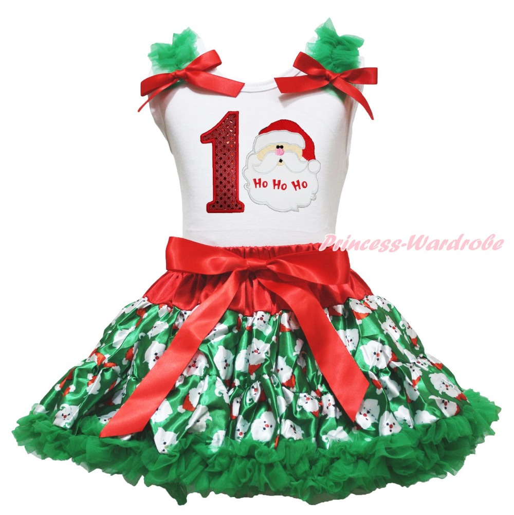 Xmas Birthday 1ST 2ND 3RD 4TH 5TH 6TH Sleeveless Top Girls Santa Claus Skirt Outfit 1-8Year<br><br>Aliexpress