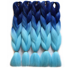 "Chorliss 24""(65cm) Straight Jumbo Ombre Braiding Hair BlueTL.blue  Synthetic Hair Extensions Crochet Braids 100g/pack"