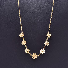 Martick Romantic Sweet Flower Shape Pendant Necklace Link Chain Small Daisy Necklace Fashion Jewelry For Women Gift P60(China)