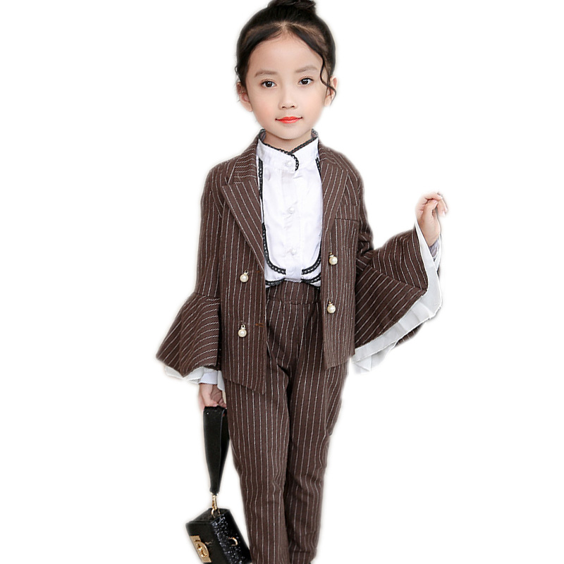girls clothes sets 2017 autumn kids clothes top striped flare full sleeve blazer jacket+straight pants girls formal dress suit<br>