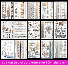 15pcs/lot Waterproof Flash Tattoo Non-toxic Temporary Tattoo Sticker Take These Metallic And Gold Jewelry Tattoo Home!(China)