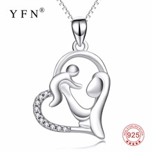 YFN Genuine 925 Sterling Silver Mother Child Necklace Mom Hold Child Pendants Necklaces Jewelry For Women Mother's Day Gifts(China)